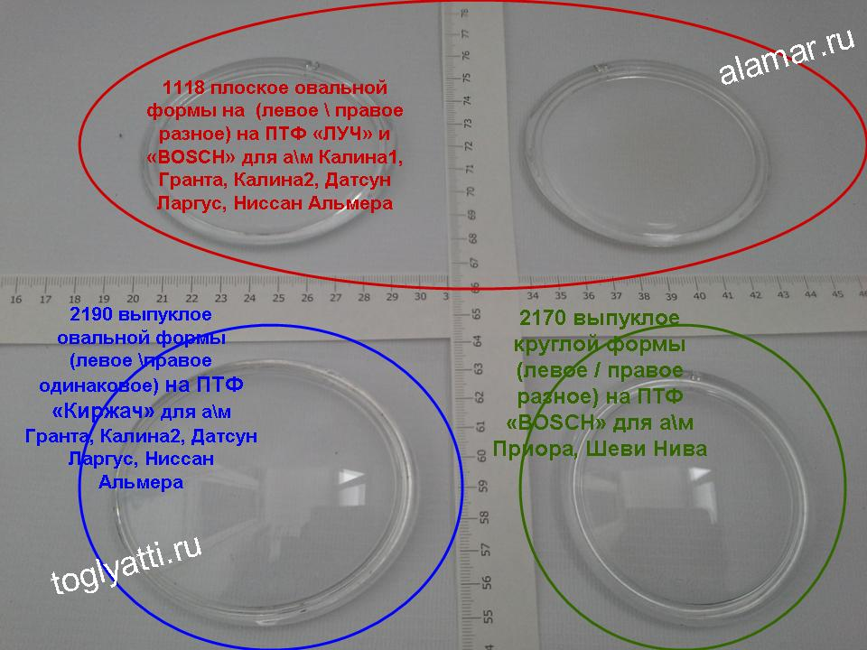 Стекло фары противотуманной 2190 выпуклое овальной формы ПАРА (левое/правое одинаковое) на ПТФ «Киржач» для а/м Гранта, Калина2, Датсун Ларгус, Ниссан Альмера