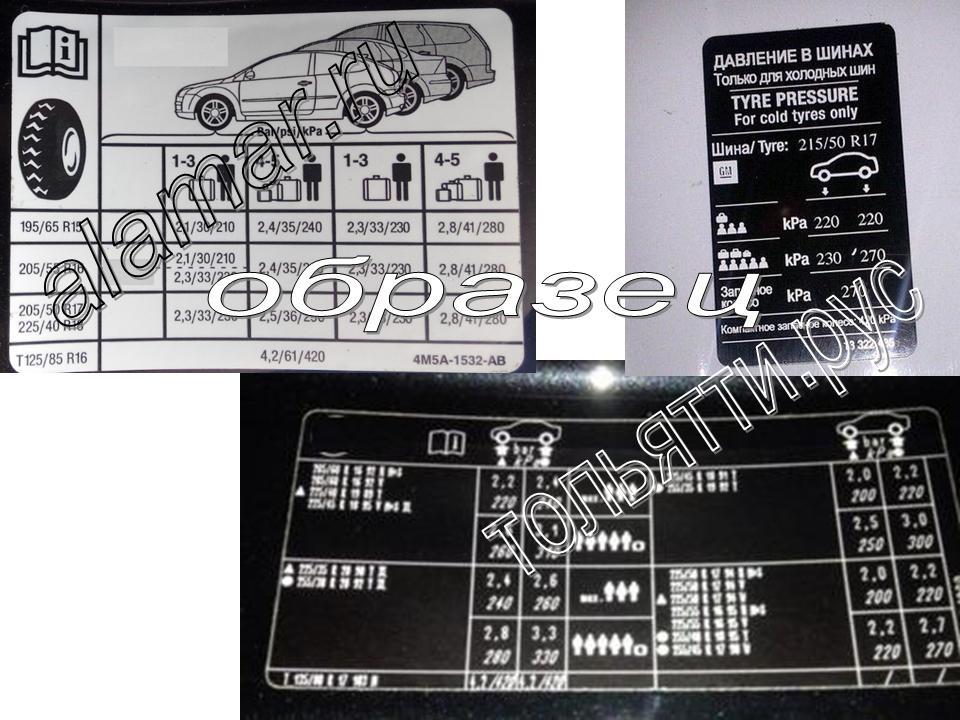 Табличка информационная о рекомендуемом давлении в шинах Гранта Седан