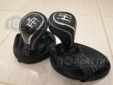 Рукоятка КПП и РКП Шевроле Нива с чехлами в чёрной коже в стиле Веста хром