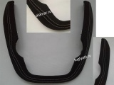 Окантовка накладки консоли 2 DIN (подкова) Гранта черная кожа СЕРАЯ нить (в стиле гранта спорт)