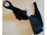 Рукоятка ручника с чехлом и подстаканником и рукоятка тросовой кпп с чехлом ДАТСУН Черная кожа Черная нить