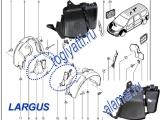 Щитки передней арки колеса лев/прав (Экраны грязезащитные дополняют локер) Ларгус 638310875R/638303094R (номер LADA 8200595798/6001549272)